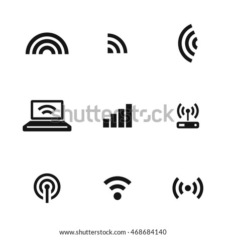 Signal vector icons. Simple illustration set of 9 Signal elements, editable icons, can be used in logo, UI and web design