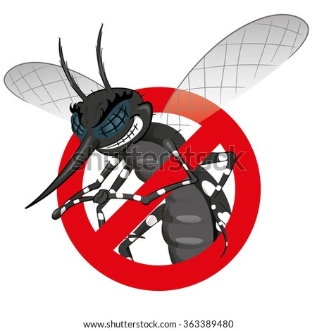 Signaling, mosquitoes with mosquito black warning, prohibited sign. Ideal for informational and institutional sanitation and related care - stock vector