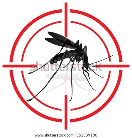 Signaling, mosquitoes with mosquito target. mira signal. Ideal for informational and institutional sanitation and related care. - stock vector