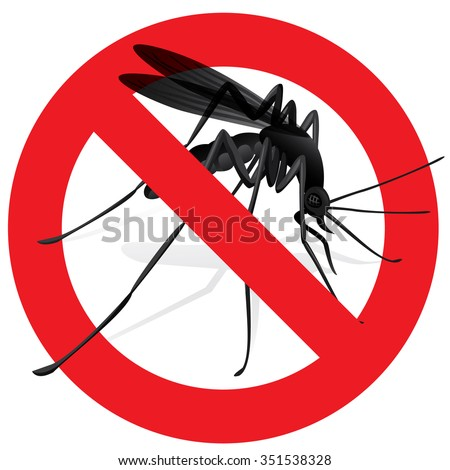 Signaling, mosquitoes with mosquito warning, prohibited sign. Ideal for informational and institutional sanitation and related care - stock vector