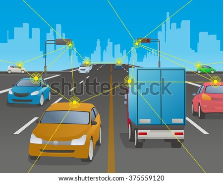 signalized intersection and various vehicle, Traffic and wireless network, Intelligent Transport Systems, Internet of Things, vector illustration - stock vector