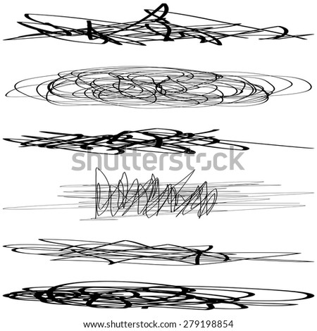 Signature Set. Abstract Scribble. Grunge Brush. EPS10 vector.