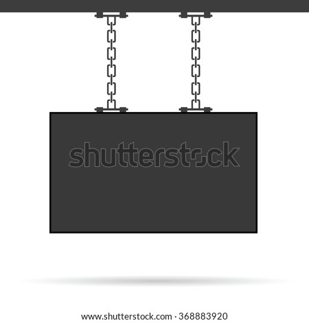 signboard on chain illustration in black - stock vector