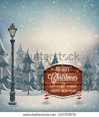 Signboard with Christmas greeting, lamp post, winter landscape with snow flakes. Vector illustration - stock vector