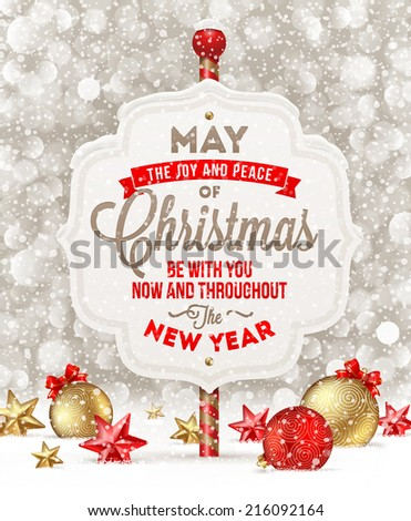 Signboard with holiday greeting and Christmas decoration on a snow - vector illustration - stock vector