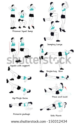 Signed Sports silhouettes of woman doing exercises.Girl dressed in blue t-short - stock vector