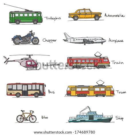 Signed transport vehicles drawings icon set on white background - stock vector