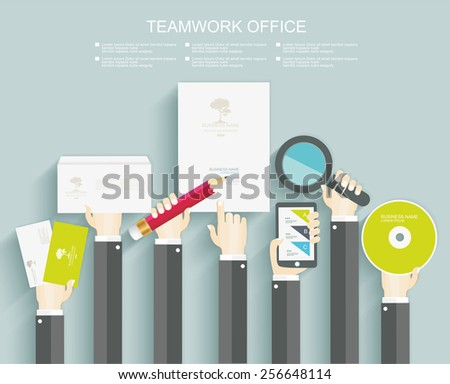 Signing a contract. Business meeting. Office kit. Flat design. - stock vector