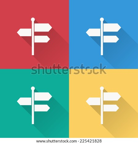 signpost icon , flat design on 4 color background - stock vector