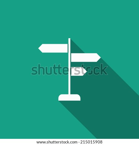 signpost icon with long shadow - stock vector