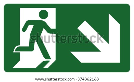 signpost, leave, enter or pass through the door down the right. Ideal for visual communication and institutional materials - stock vector