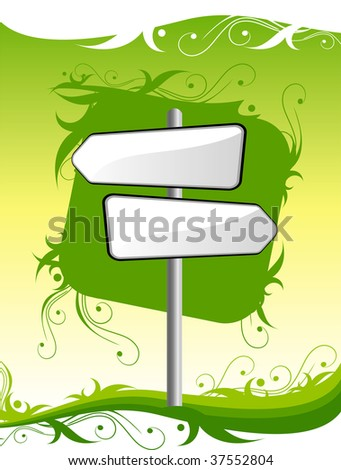 signpost on green background with ornament - stock vector