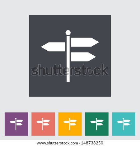 Signpost. Single flat icon. Vector illustration. - stock vector