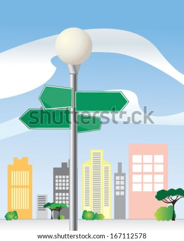 Signpost with green arrows for street names - stock vector