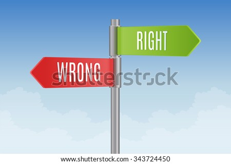 Signpost with right and wrong direction signs vector illustration - stock vector