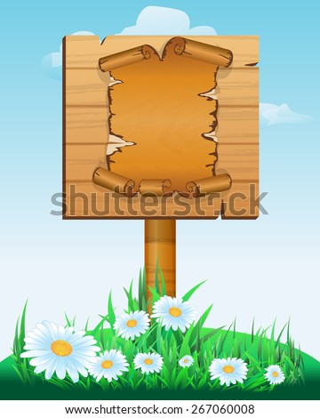 Signpost. wooden sign boards with old paper scroll . Vector illustration - stock vector