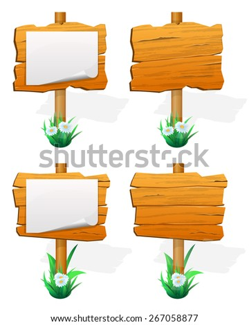 Signpost. wooden sign boards with paper. Vector illustration