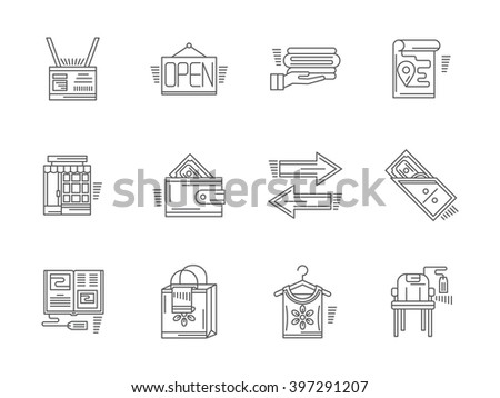 Signs and elements of commission shop. Payment, items and goods, shop facade and other elements. Set of flat black line vector icons. Elements for web design and mobile.