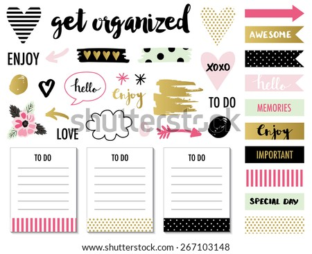 Signs and symbols for organized you planner. Template for scrapbooking, wrapping, wedding invitation, notebooks, diary. - stock vector