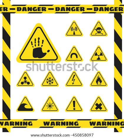 Signs of chemical effects on human, radiation, radiation and explosives in the yellow triangles. Caution. Vector illustration
