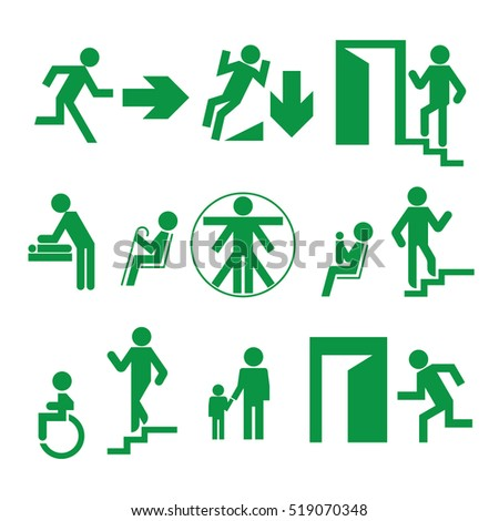 Signs of evacuation and explanatory signs in public places; mark a disabled person, changing room, mother and child room, a place for the elderly, the direction of the exit of the building.