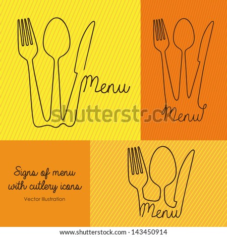 signs of menu with cutlery icons vector illustration - stock vector