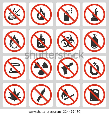 Signs of prohibited luggage items in airport, vector icon set - stock vector