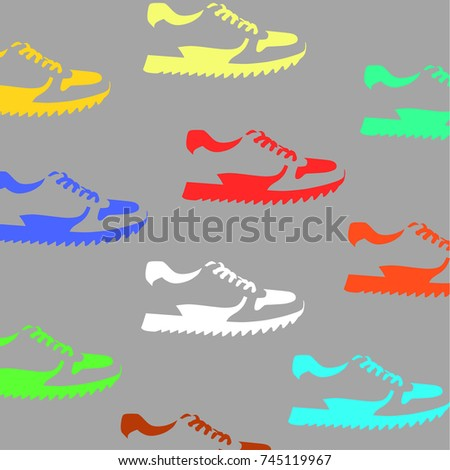 signs of shoes on grey background