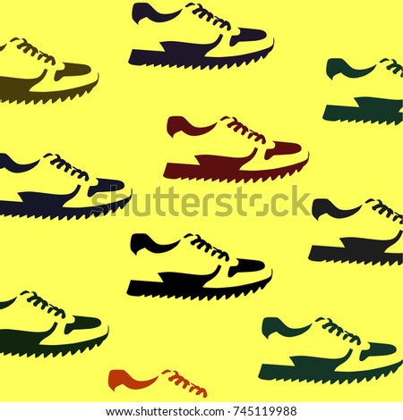 signs of shoes on yellow background