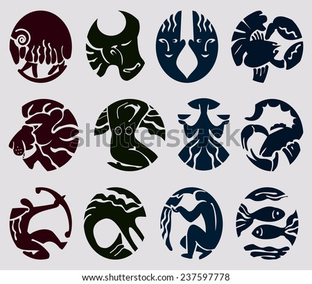 Signs of the zodiac.Set contains images of signs of the zodiac. - stock vector