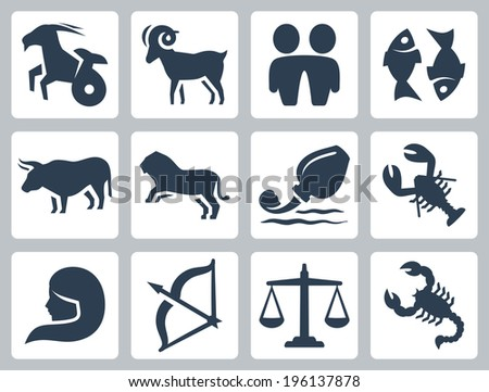 Signs of the zodiac vector icons set - stock vector