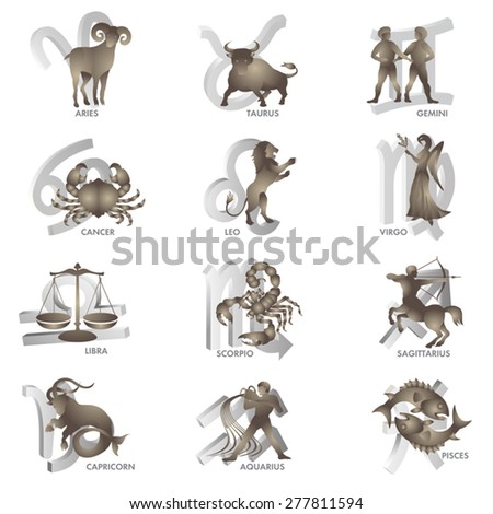 Signs of Zodiac isolated on white. Vector illustration - stock vector