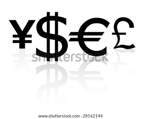 Signs on currencies a vector - stock vector