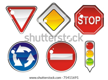 signs priority to regulate the order of roundabouts - stock vector