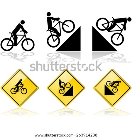 Signs showing a person riding a bicycle in flat terrain and also up and down a hill
