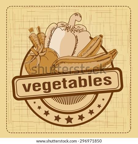 Signs symbols labels vegetables - stock vector