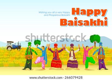 Sikh doing Bhangra, folk dance of Punjab, India for Happy Baisakhi in vector - stock vector