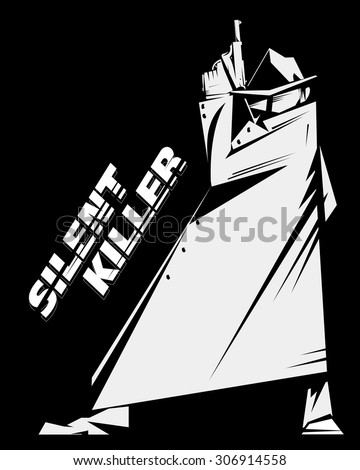 Silent killer/hired assassin or detective, wears sunglasses, hat and raincoat, holds a handgun. Black and white picture, american retro style, poster or sign usage. - stock vector