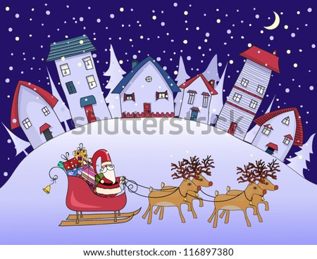 Silent Night - Christmas in a village, with cute houses and cozy homes on the hill and Santa Clause with his reindeer riding on his sleigh; whimsical hand drawn Christmas greeting card - stock vector