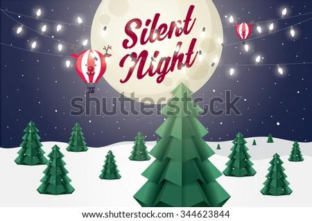 silent night/ christmas tree/ christmas scene vector/illustration - stock vector