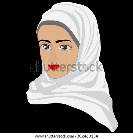 Silent tears rolling down her cheeks - stock vector
