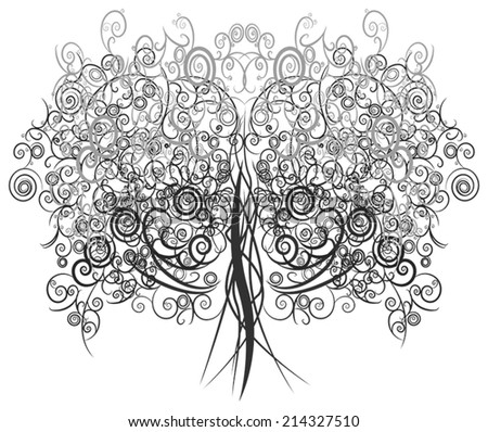 Silhouette abstract curly tree made with many curves and elements , create by vector. - stock vector