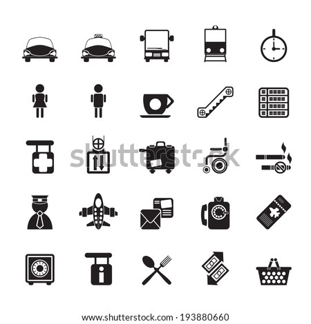 Silhouette Airport, travel and transportation icons -  vector icon set - stock vector