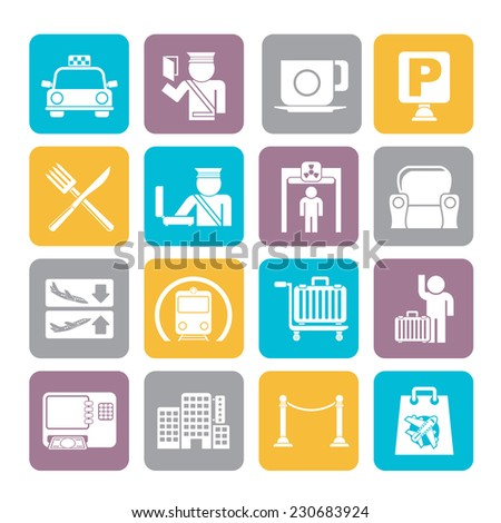 Silhouette Airport, travel and transportation icons -  vector icon set 1