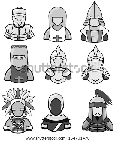Silhouette ancient warrior icon collection set 2, create by vector - stock vector