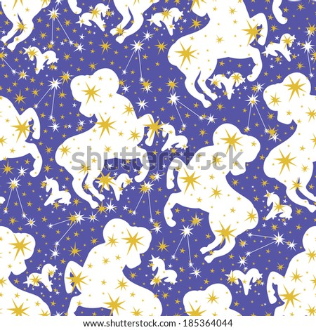 Silhouette Aries,zodiac signs and stars in Horoscope seamless pattern.Golden stars,white Aries on blue background.Vector background,  packing,Wallpaper, fabric. Illustration in retro style. - stock vector