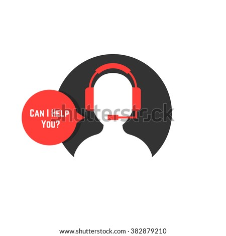 Silhouette Assistant Red Bubble Concept Crm Stock Vector Hd Royalty