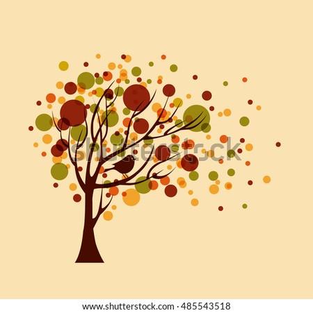 Clip Art Vector of Autumn tree silhouette - Vector illustration of ...