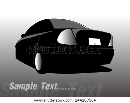 Silhouette back car. Vector illustration - stock vector