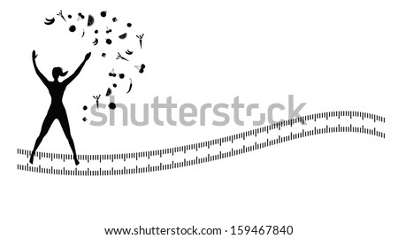 Silhouette background with jumping jacks exercise/ Silhouette background with jumping  jacks exercise on abstract measuring tape isolated on white.  - stock vector